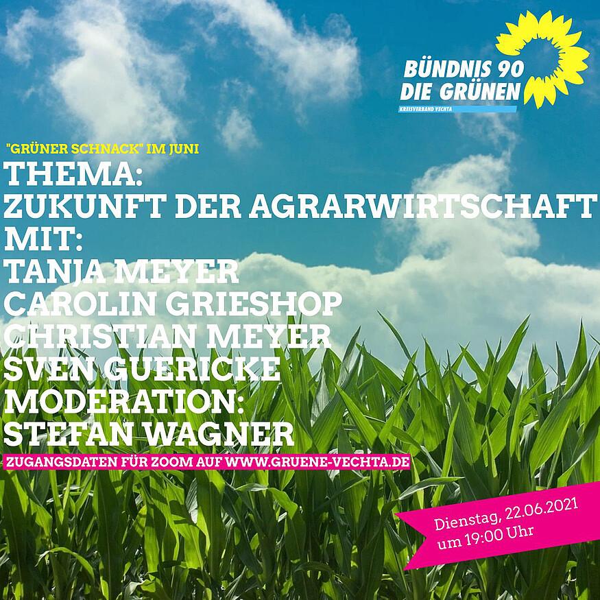 """""""Grüner Schnack""""- Zukunft der Agrarwirtschaft im Oldenburger Münsterland am Dienstag, den 22. Juni (19 Uhr)"""